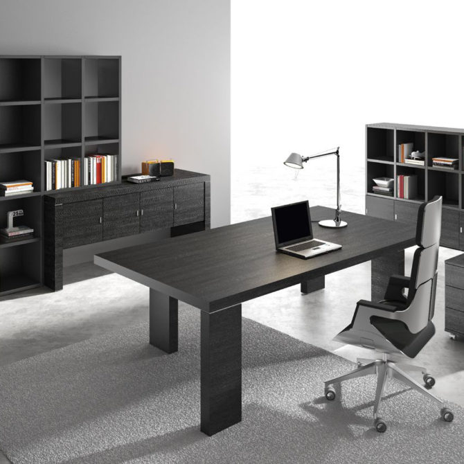 Modern Black Wood Executive Desk Ambience Dor 233