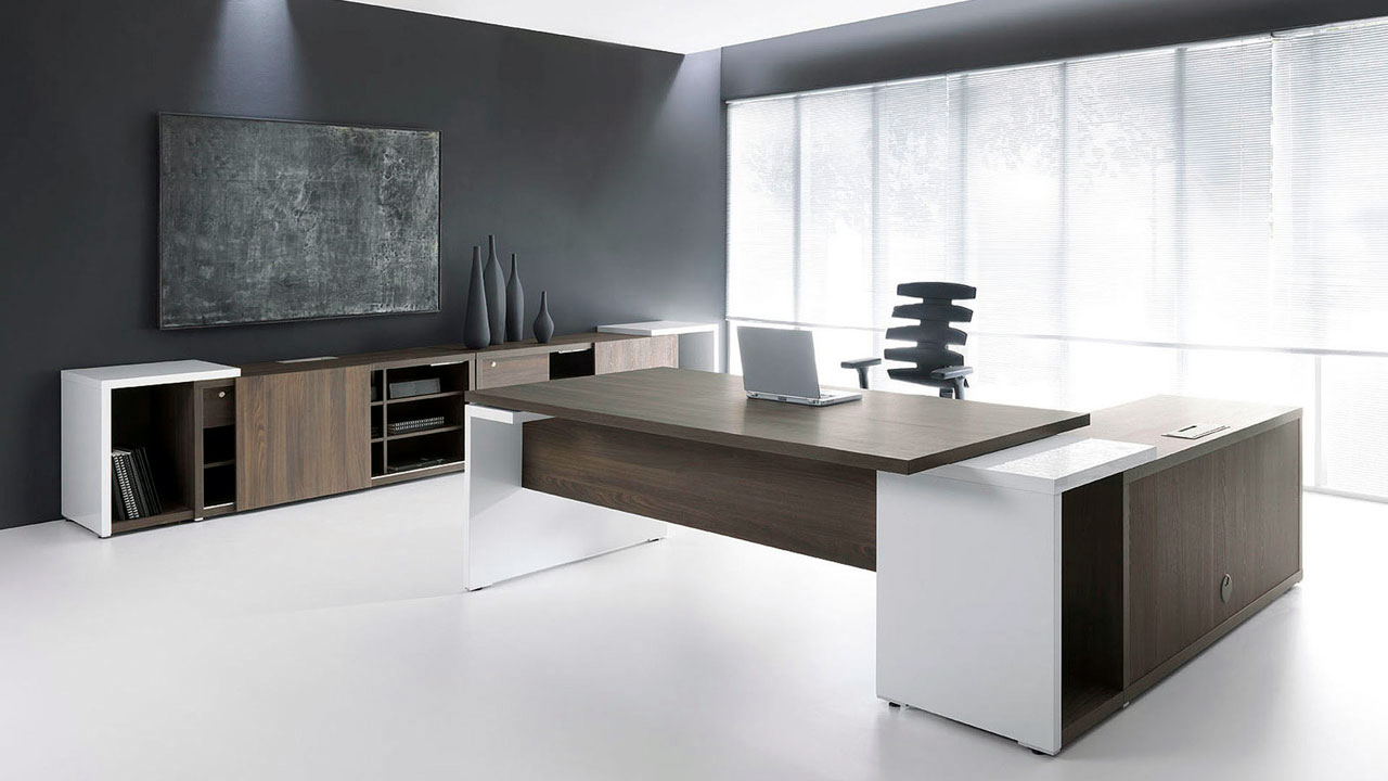 Modern Office Desk: Ultra Modern White Espresso Desk